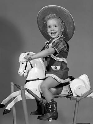 Cowgirl On Rocking Horse, C.1950s Art Print