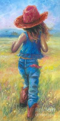 Prairie Girl Wall Art - Painting - Cowgirl On The Run by Vickie Wade