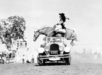 Cowgirl Performing Stunt, 1934 Art Print
