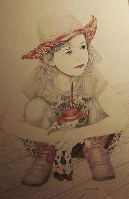 Drawing - Cowgirl by Tony Ruggiero