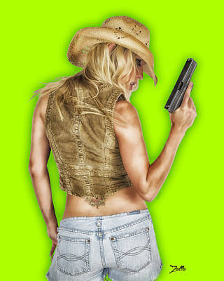 Glock Photograph - Cowgirls Are Sexy On Green by Zelle