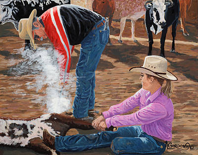 Mexico People Painting - Cowgirls Do It Too by Timithy L Gordon