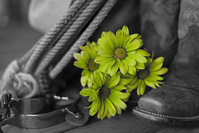 Photograph - Cowgirl's Gear With Green Flowers by Amber Kresge