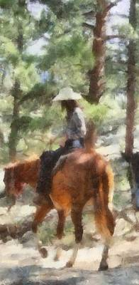 Girl Riding Horse Painting - Cowgirl Horseback Riding by Dan Sproul