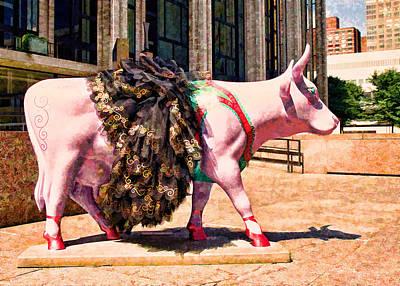 Photograph - Cow Parade N Y C 2000 - Prima Cowlerina by Allen Beatty