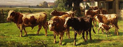 Animals Digital Art - Cows by Adolf bei Dachau