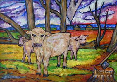 Painting - Cows And Fallen Gum Trees by Dianne  Connolly