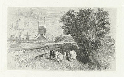 Charles River Drawing - Cows At A Road, Charles Rochussen by Charles Rochussen