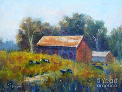 Cows By The Barn Art Print