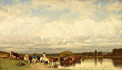 Painting - Cows Crossing A Ford by Jules Dupre