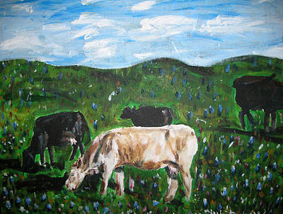 Painting - Cows Grazing in the Spring by Whitney Wiedner