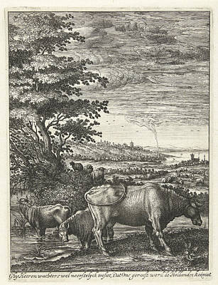Cows In A Landscape, Hendrick Hondius Print by Hendrick Hondius (i)