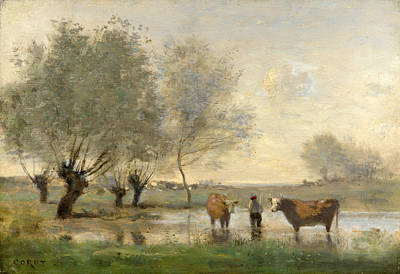 Cows In A Marshy Landscape Art Print by Jean-Baptiste-Camille Corot
