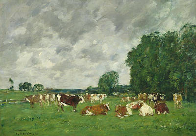 French Cow Painting - Cows In A Pasture by Eugene Louis Boudin