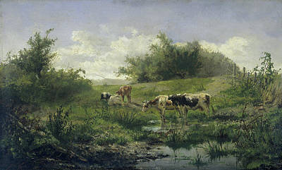 Cows In A Puddle, Gerard Bilders Print by Litz Collection