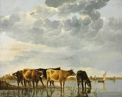 Holy Cow Painting - Cows In A River by Aelbert Cuyp