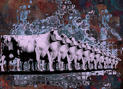 Captured Rain Painting - Cows In Order 2 by Jack Zulli