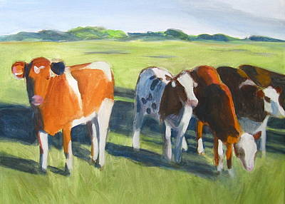 Painting - Happy Cows  by Kazumi Whitemoon