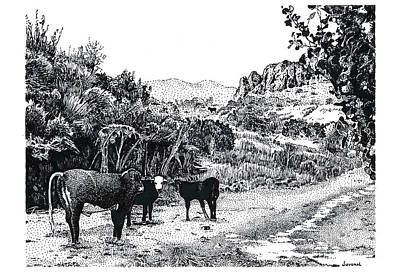 Pointillist Drawing - Cows In The Canyon by Joseph Juvenal