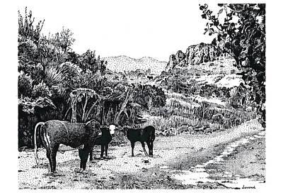 Cows In The Canyon Art Print by Joseph Juvenal