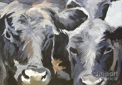 Cows In Waiting Art Print by Katrina West