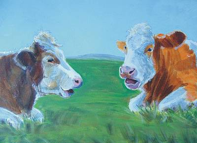 Painting - Cows Lying Down Chatting by Mike Jory