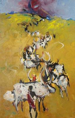 Painting - Cows by Negoud Dahab