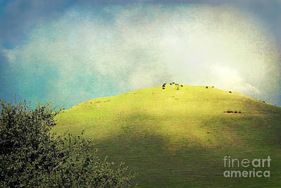 Photograph - Cows On A Hill by Ellen Cotton