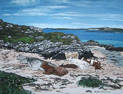 Shephard Painting - Cows On The Beach by Diana Shephard
