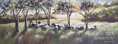 Wall Art - Painting - Cows Pasture by Paula Marsh