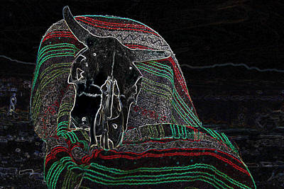 Digital Art - Cows Skull On Blanket by Sandra Selle Rodriguez
