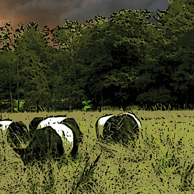 Mixed Media - Cows Under A Threatening Sky by Ann Tracy