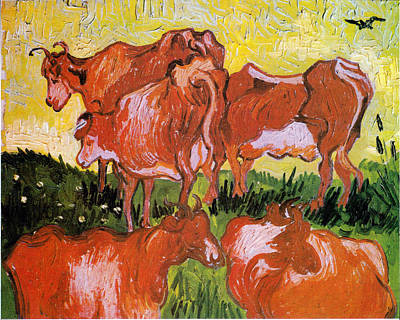 Digital Art - Cows by Vincent Van Gogh