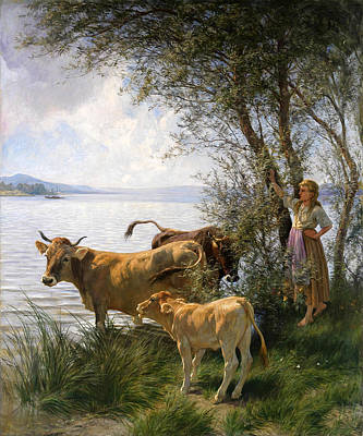 Cows With Shepherdess At The Lake Art Print by Rudolf Koller