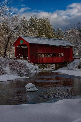 Photograph - Cox Brook Runs Under Covered Bridge by Jeff Folger