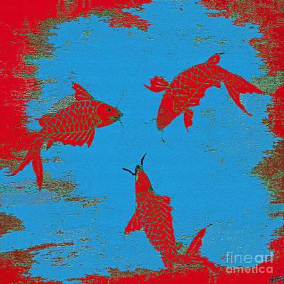 Koi Digital Art - Koi Fish Red by Saundra Myles