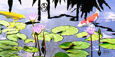 Waterlilies Digital Art - Coy Koi by Doug Kreuger
