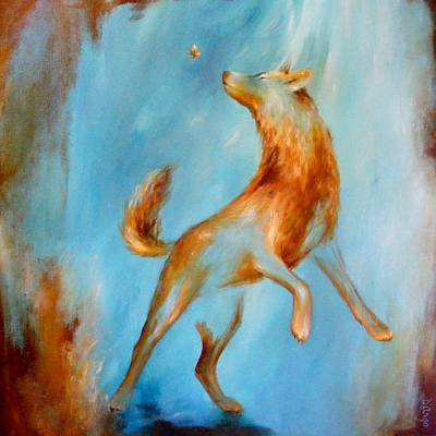 Wolf Pup Painting - Coyote Blue 2 by Dina Dargo