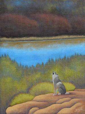 Painting - Coyote Howl by Gayle Faucette Wisbon
