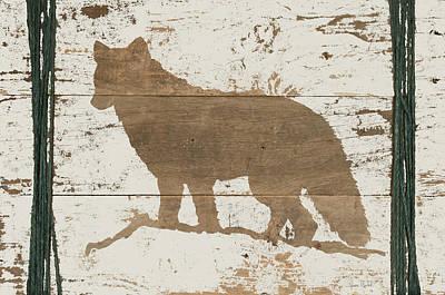 Reclaimed Wood Wall Art - Painting - Coyote In Reverse by Ramona Murdock