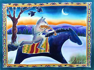 Crow. Bird Music Painting - Coyote Music by Harriet Peck Taylor