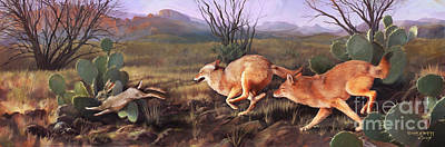 Print featuring the painting Coyote Run by Rob Corsetti