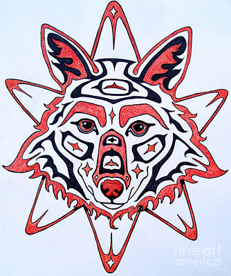 Coyote Drawing - Coyote Sun by Joey Nash