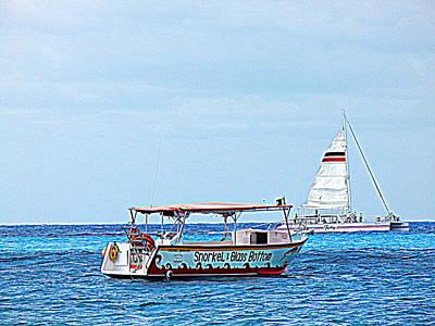Art Print featuring the photograph Cozumel Excursion Boats by Debra Martz