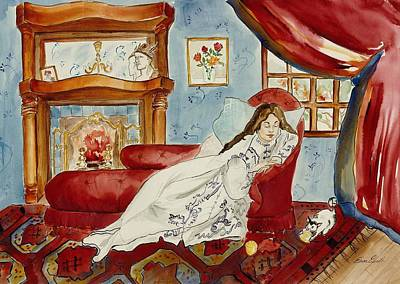 Painting - Cozy Comfort And A Curious Cat by Elaine Elliott