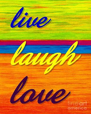 Colored Pencil Abstract Painting - Cp001 Live Laugh Love by David K Small