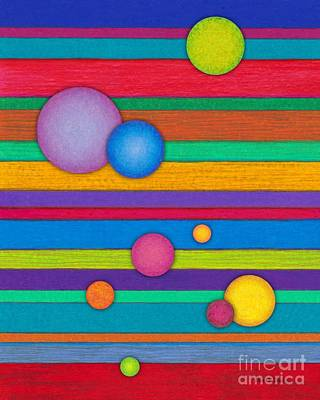 Colored Pencil Abstract Painting - Cp003 Stripes And Circles by David K Small