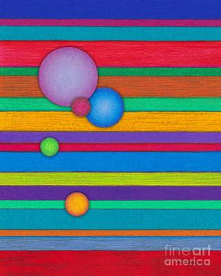 Colored Pencil Abstract Painting - Cp003 Stripes With Circles by David K Small