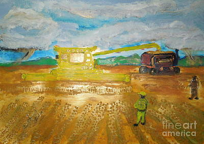 Cr9090 Combine Harvester New Holland World's Biggest Hasten The Work 1 Art Print by Richard W Linford