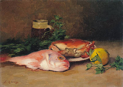 Crab And Red Mullet Oil On Canvas Print by Jules Ernest Renoux